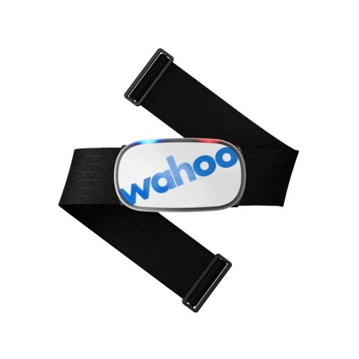 Wahoo tickr white pulsbelte. Svart bånd med hvit pod og blå wahoo logo