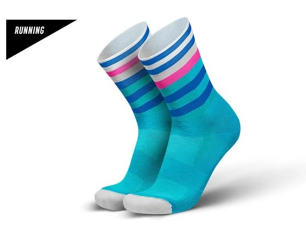 Incylence løpesokker. Lyseblå med mørkeblå, hvit og rosa striper