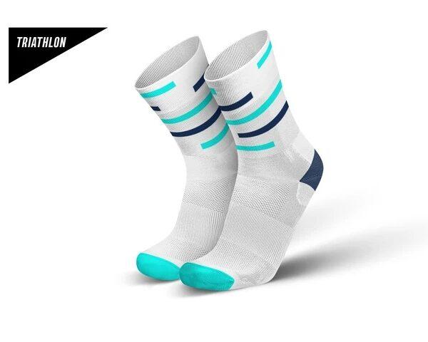 Incylence triatlonsokker. Hvit med lys og mørkeblå striper