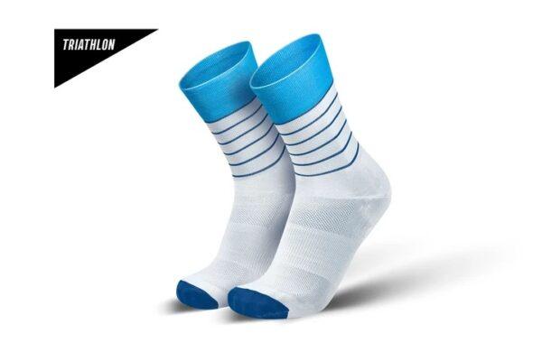 Incylence Triatlonsokker, hvit med blå striper