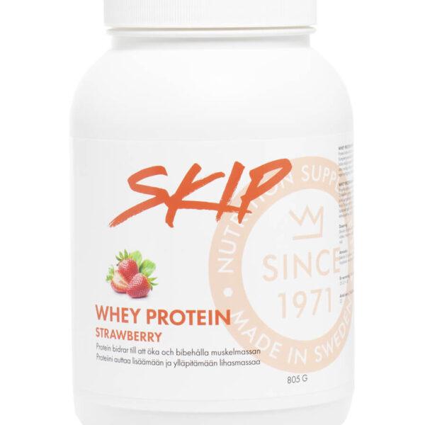 Skip whey protein strawberry / jordbær forpakning. 805 gram