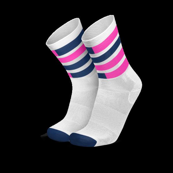 Incylence triatlonsokker. Hvit med mørkeblå og rosa striper
