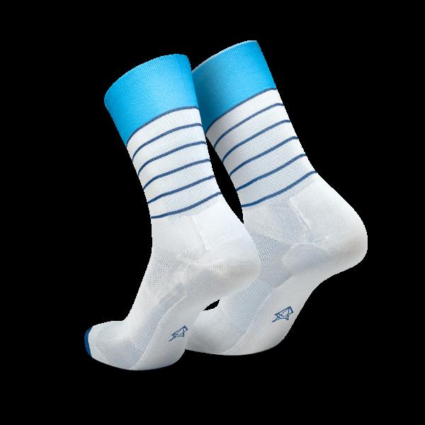 Incylence løpesokker, hvit med blå striper
