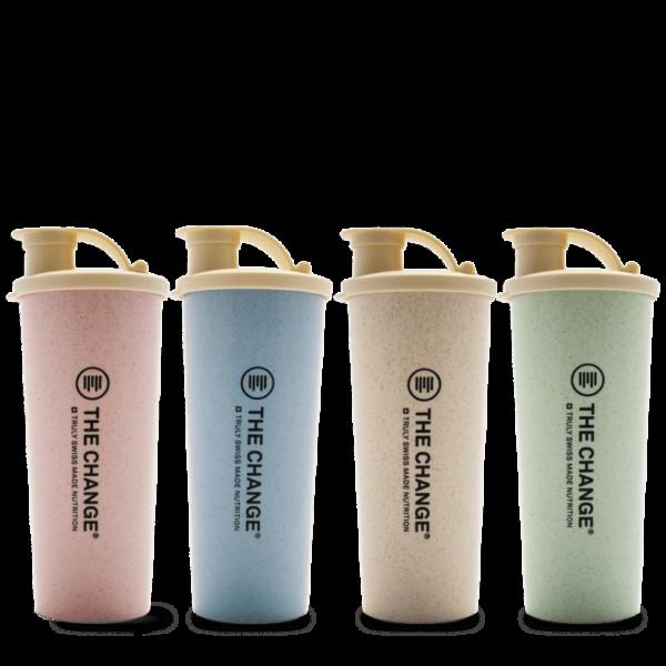 Be the change blå, grønn, rosa beige shaker